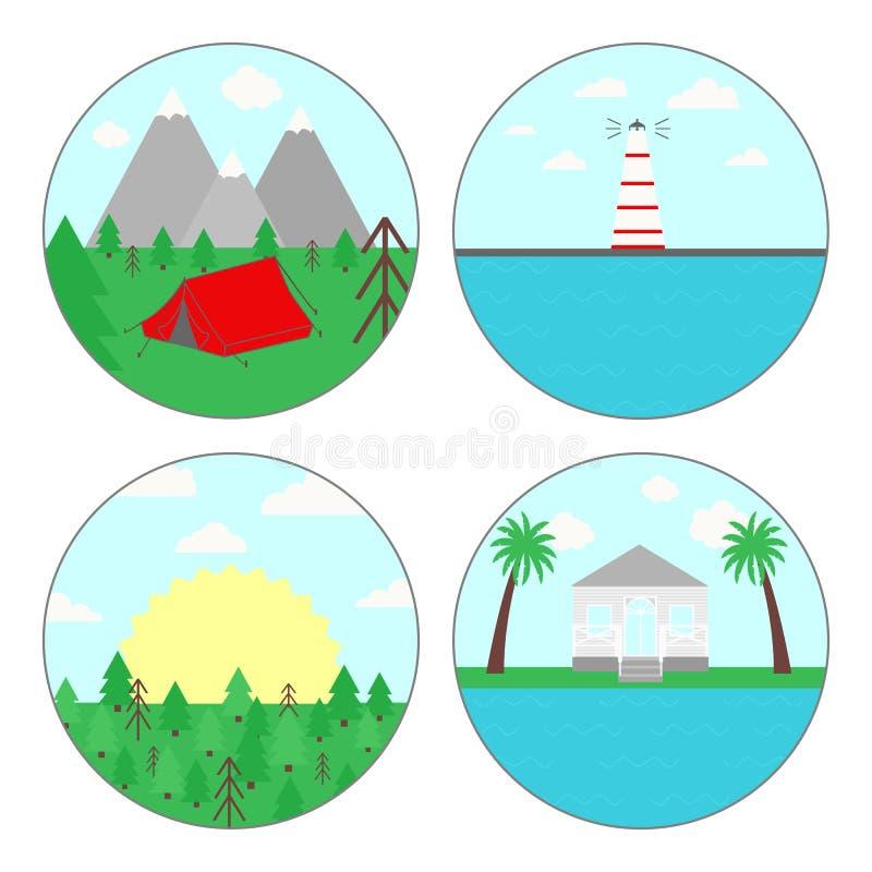 Vector l'illustrazione delle vacanze estive per i campeggiatori, simbolo di attività all'aperto Un insieme di una forma di quattr illustrazione vettoriale