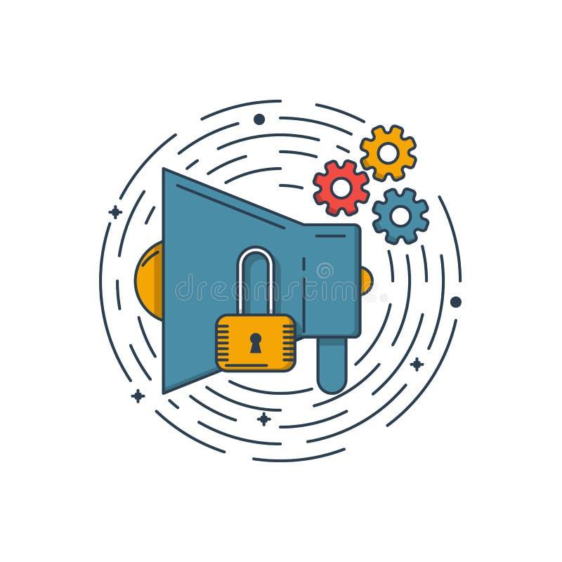 Vector l'illustrazione di affari dell'icona blu del megafono e dell'icona della serratura nello stile lineare Concetto di progett illustrazione di stock