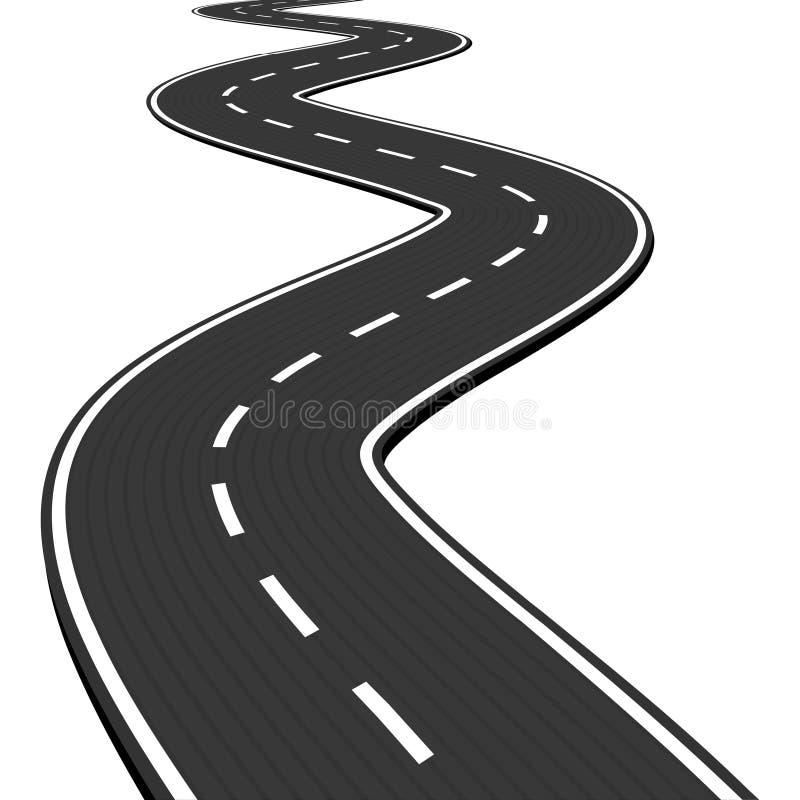 Vector l'illustrazione di avvolgimento della strada asfaltata astratta isolata su fondo bianco illustrazione di stock