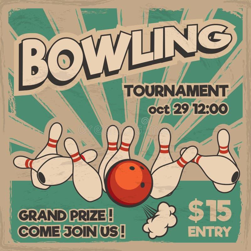Vector l'illustrazione di bowling di Pop art su un fondo d'annata illustrazione vettoriale