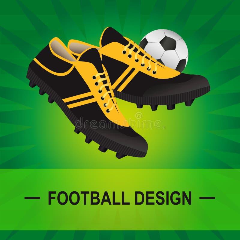 Vector l'illustrazione di calcio di tappeto erboso con gli stivali e la palla di calcio illustrazione di stock