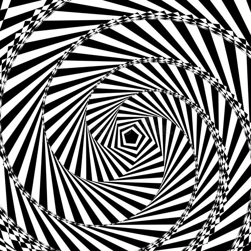 Vector l'illustrazione di fondo geometrico in bianco e nero di aumentare e giri il pentagono creano un ottico royalty illustrazione gratis
