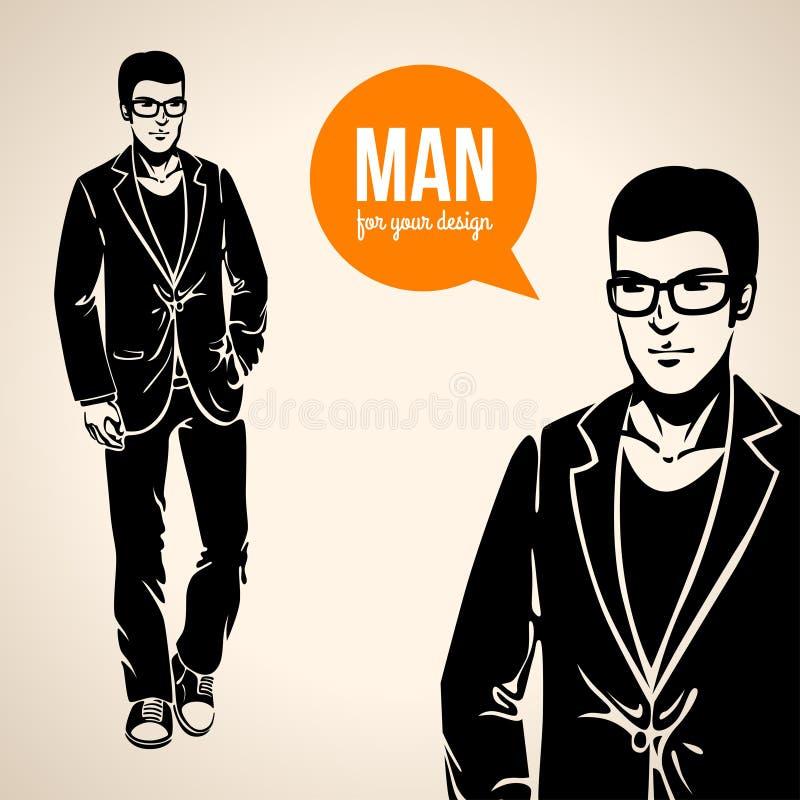 Vector l'illustrazione di giovane uomo bello in abbigliamento casual royalty illustrazione gratis