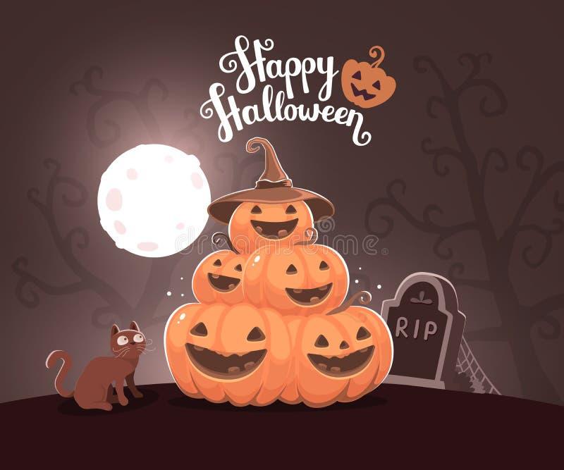 Vector l'illustrazione di Halloween del mucchio di pumpk arancio decorativo royalty illustrazione gratis