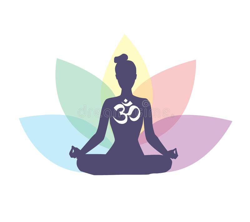 Vector l'illustrazione di logo di meditazione e di yoga con la siluetta della donna ed il fiore di loto illustrazione vettoriale
