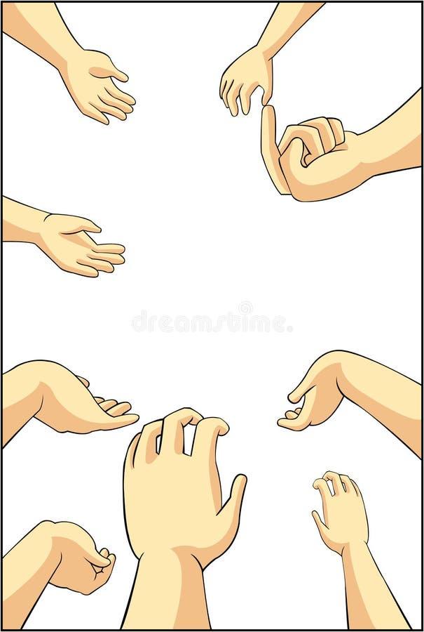 Vector l'illustrazione di molte mani della gente del fumetto che provano ad afferrare, royalty illustrazione gratis