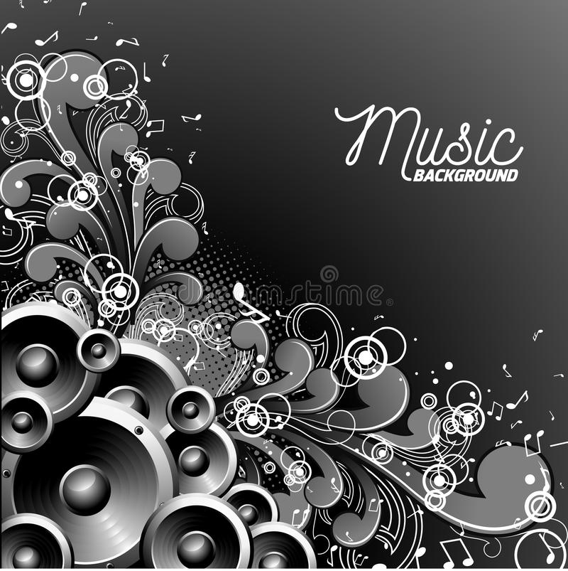 Vector l'illustrazione di musica con gli altoparlanti su fondo floreale illustrazione vettoriale