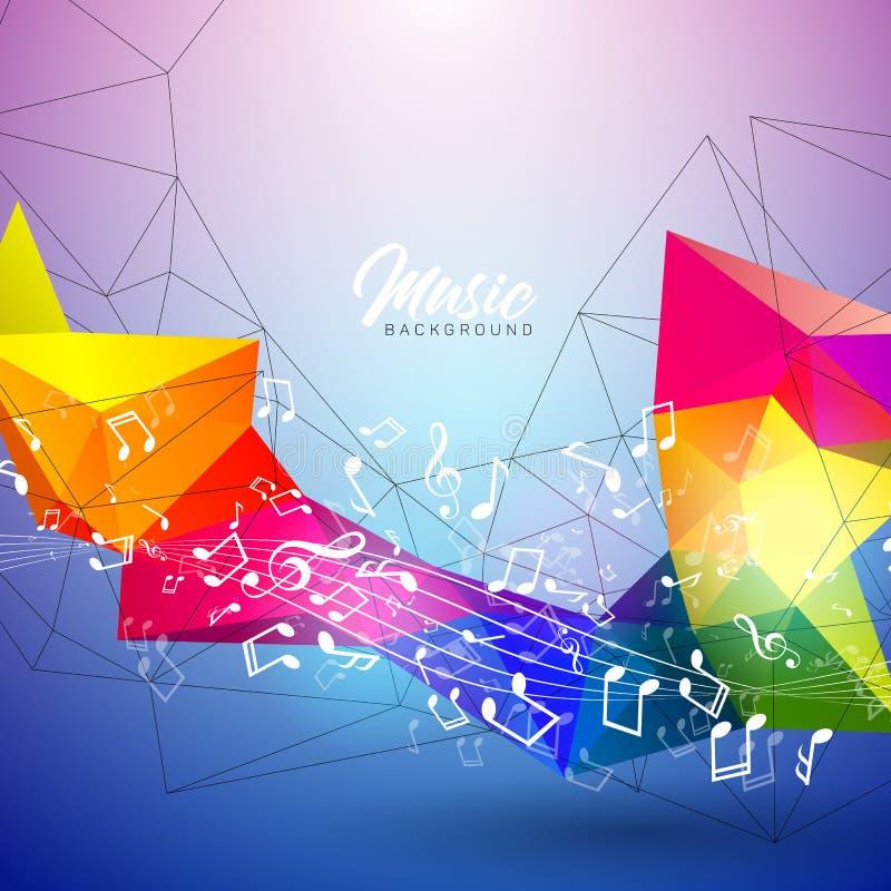 Vector l'illustrazione di musica con le note di caduta e la progettazione astratta di colore su fondo blu per l'insegna dell'invi illustrazione vettoriale