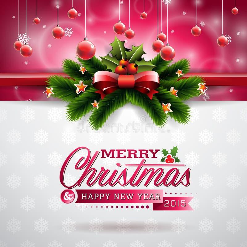 Vector l'illustrazione di Natale con progettazione tipografica e gli elementi brillanti di festa sul fondo dei fiocchi di neve illustrazione vettoriale