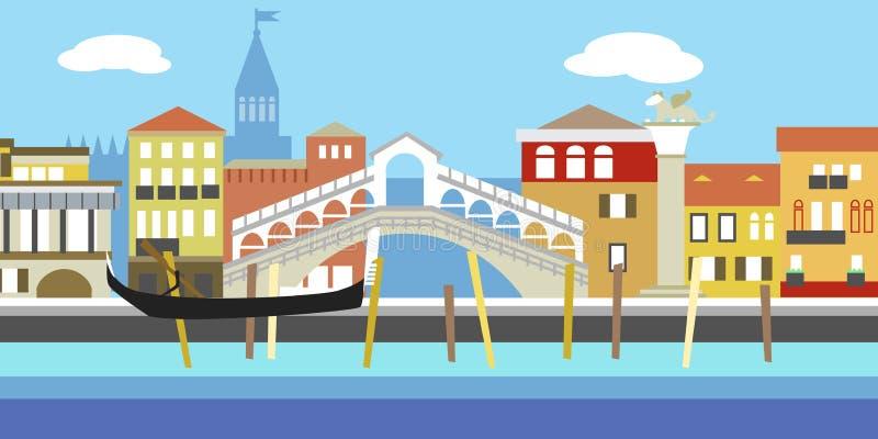 Vector l'illustrazione di paesaggio urbano di Venezia nello stile semplice Paesaggio italiano tradizionale Camere nel vecchio sti illustrazione vettoriale