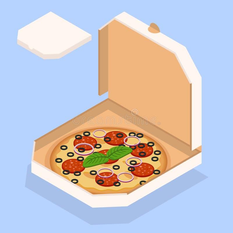 Vector l'illustrazione di pizza Pizza saporita nella scatola illustrazione di stock