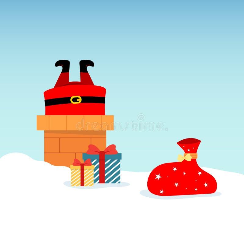 Vector l'illustrazione di Santa Claus sul tetto, tuffantesi nel camino, con i regali inscatolati che si trovano intorno nella nev illustrazione di stock