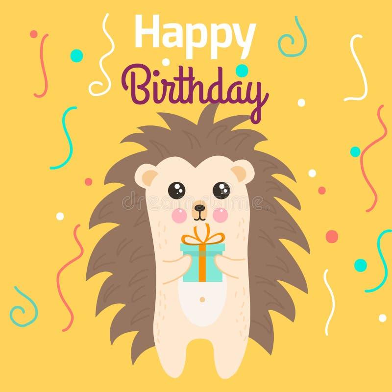 Vector l'illustrazione di stile del fumetto del modello della cartolina d'auguri di buon compleanno con il regalo della tenuta de royalty illustrazione gratis