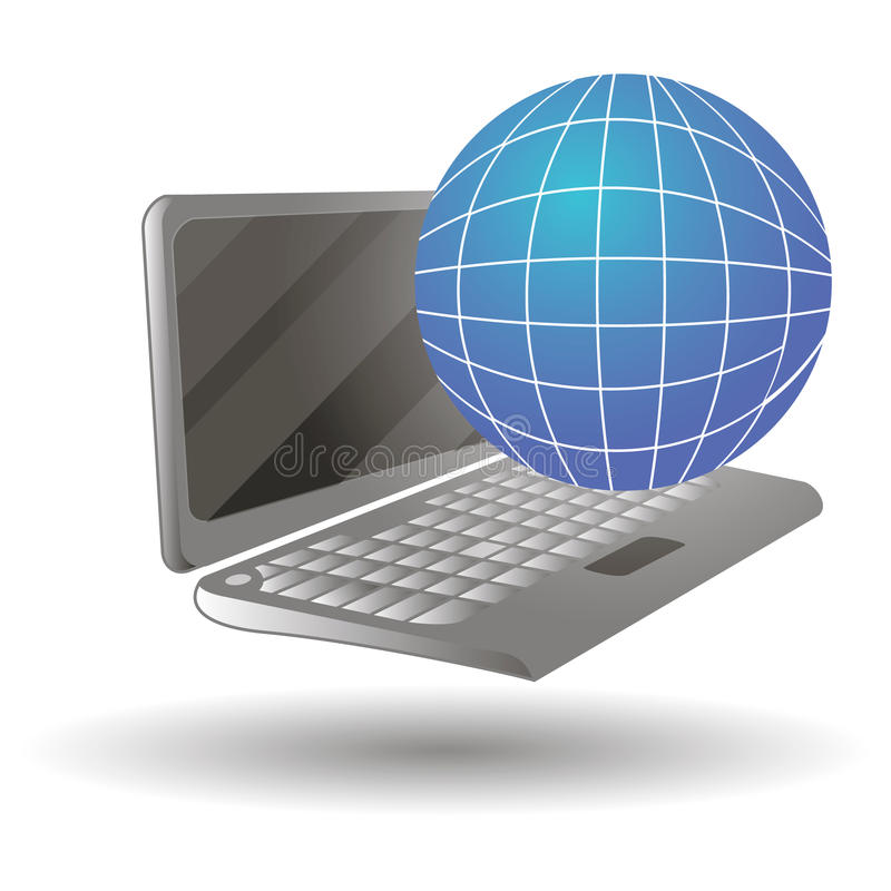 Vector l'illustrazione di un computer portatile nelle visualizzazioni differenti isolato su fondo bianco illustrazione vettoriale