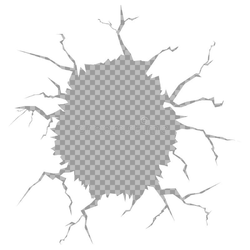 Vector l'illustrazione di un foro nella parete su un fondo trasparente isolato Terra fendentesi Modello per il contenuto fotografia stock libera da diritti