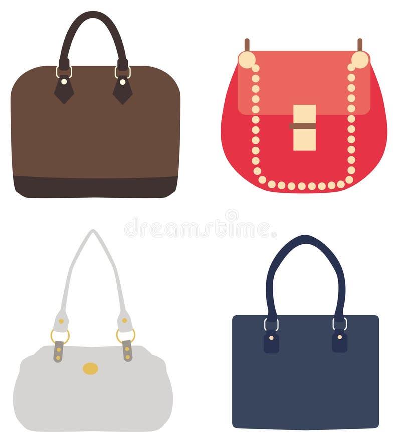 Vector l'illustrazione di un insieme delle borse delle signore illustrazione di stock