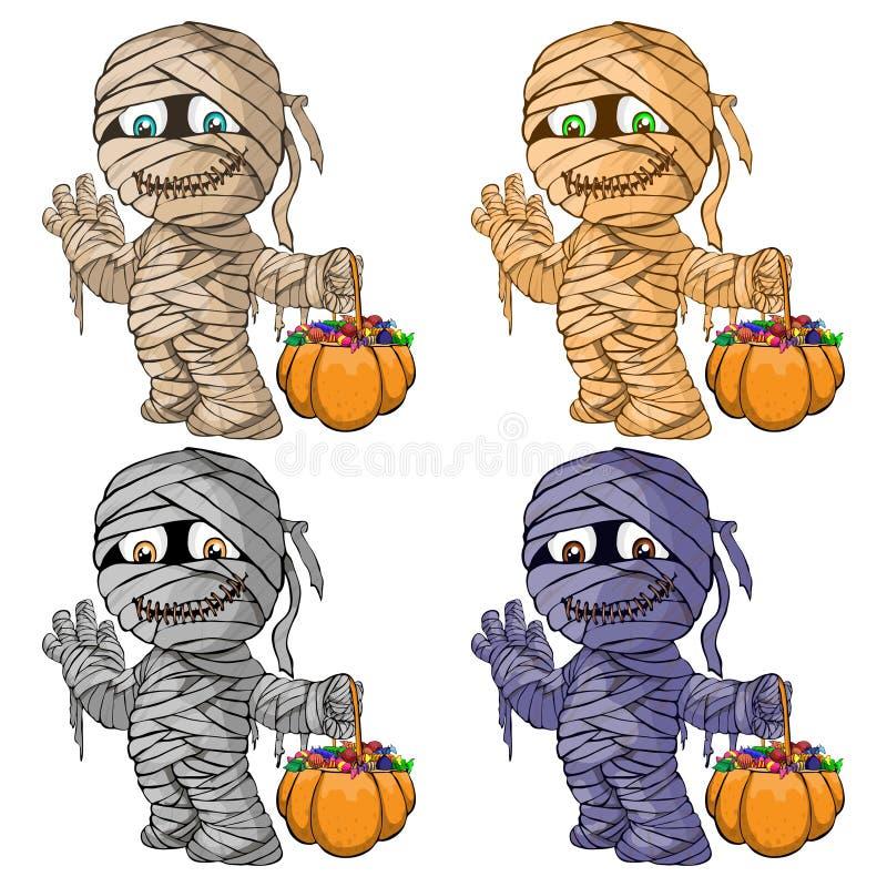 Vector l'illustrazione di un insieme delle mummie allegre per Corridoio immagine stock