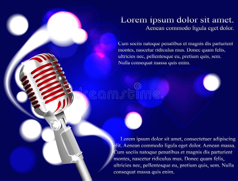 Vector l'illustrazione di un karaoke di concetto, il microfono, la canzone, concerto illustrazione di stock
