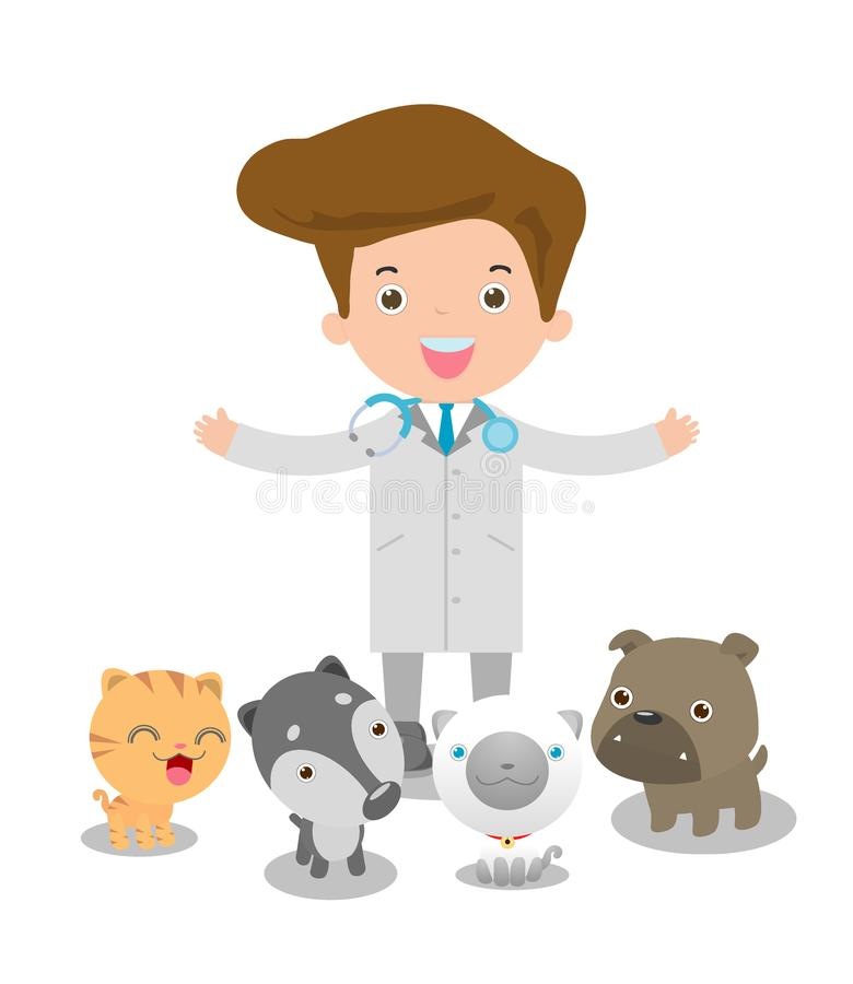 Vector l'illustrazione di un medico veterinario maschio e degli animali domestici: gatto, cane royalty illustrazione gratis