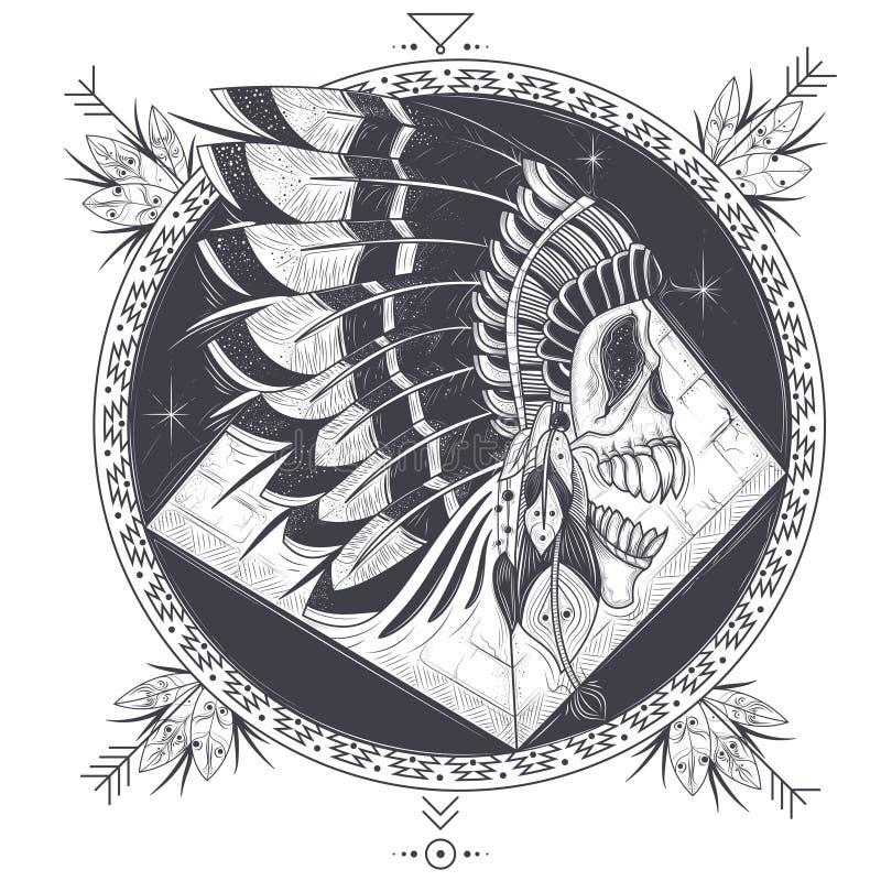 Vector l'illustrazione di un modello per un tatuaggio con un cranio umano in un cappello indiano della piuma royalty illustrazione gratis