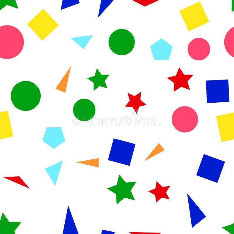 Vector l'illustrazione di un modello senza cuciture delle forme semplici variopinte - quadrati, triangoli, cerchi e stelle su un  royalty illustrazione gratis