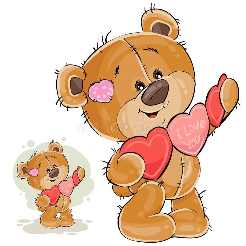 Vector l'illustrazione di un orsacchiotto marrone che tiene una ghirlanda dei cuori rossi e rosa in sue zampe illustrazione di stock