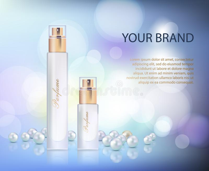 Vector l'illustrazione di un profumo realistico di stile in una bottiglia di vetro su un fondo viola blu illustrazione di stock