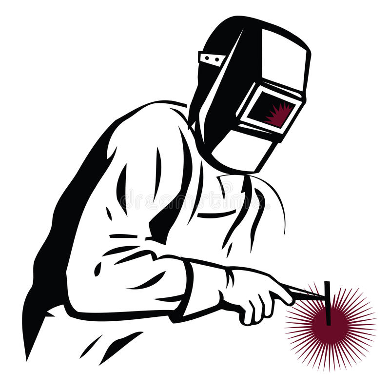Vector l'illustrazione di un saldatore alla saldatura del lavoro, per la società illustrazione di stock