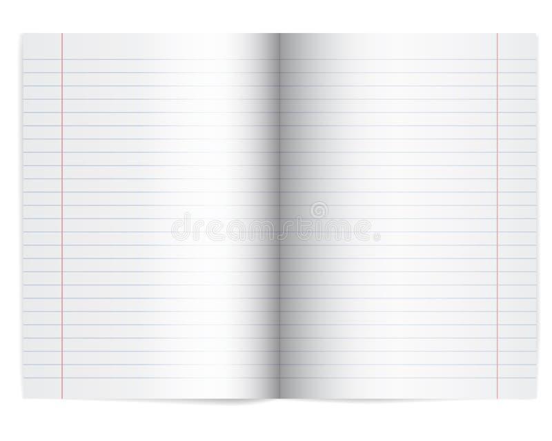 Vector l'illustrazione di un taccuino aperto della scuola con carta allineata illustrazione vettoriale