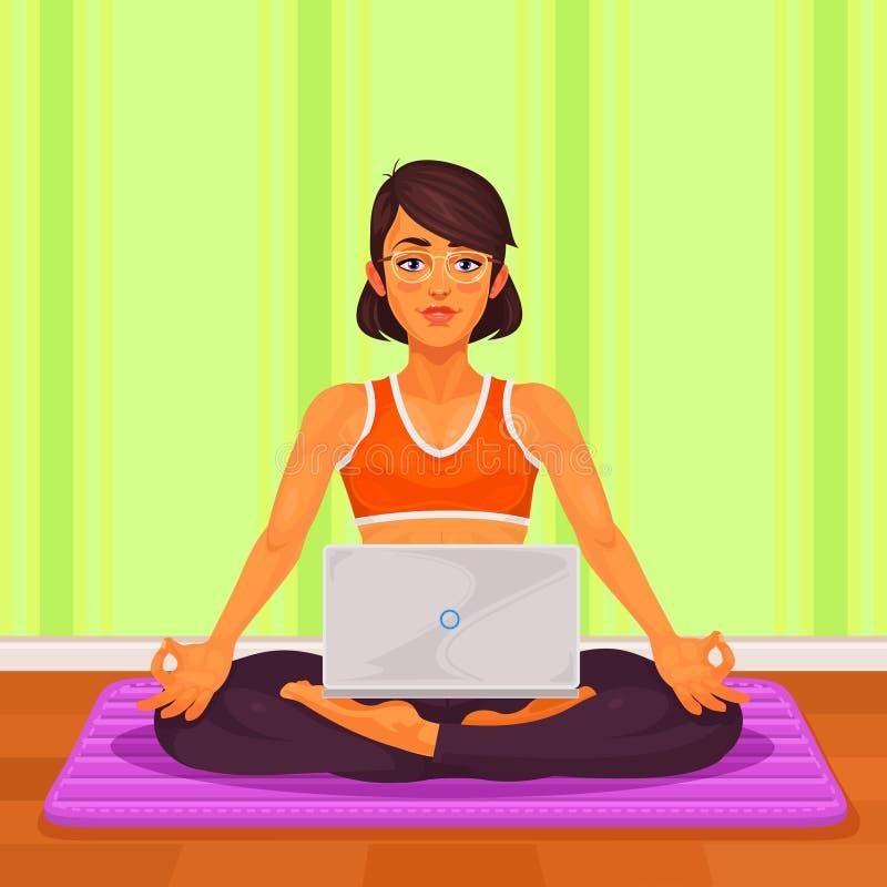 Vector l'illustrazione di un'yoga della ragazza nella posizione di loto illustrazione vettoriale