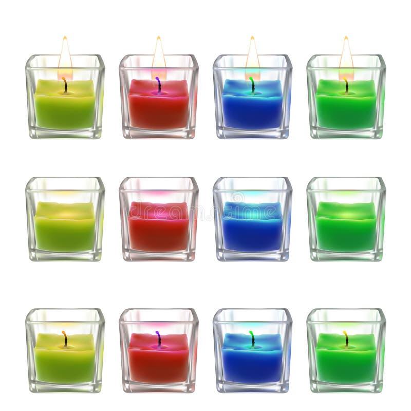 Vector l'illustrazione di una collezione di varie candele in uno stile realistico illustrazione vettoriale