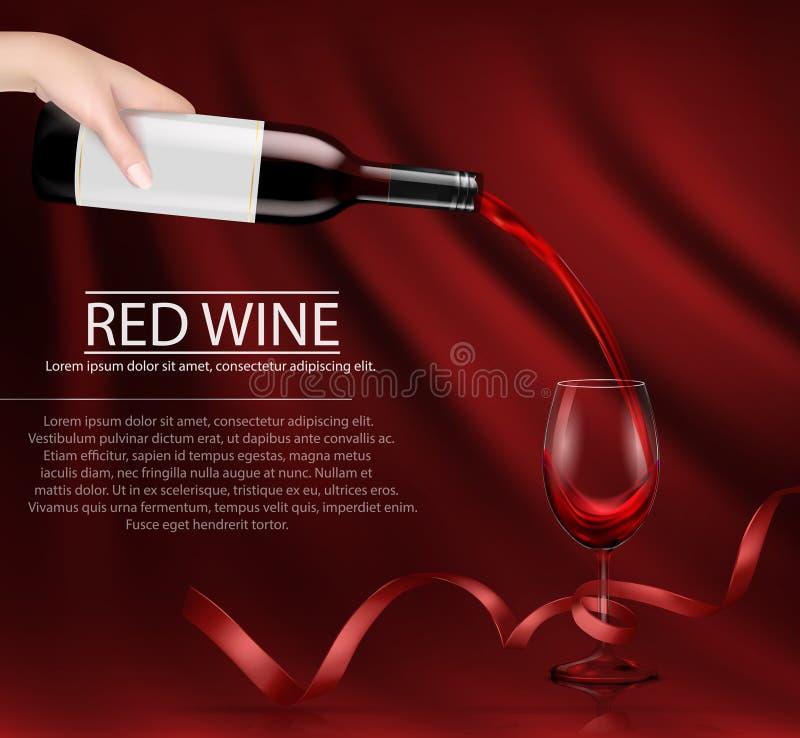 Vector l'illustrazione di una mano che tiene una bottiglia di vino di vetro e che versa il vino rosso in un vetro illustrazione vettoriale