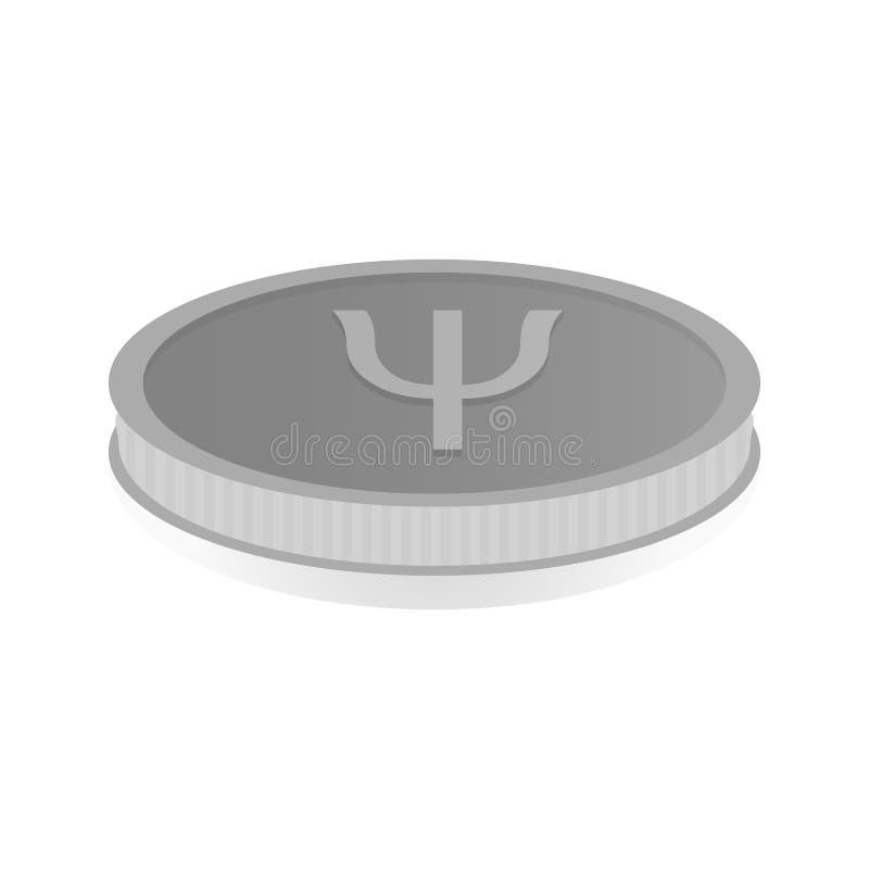 Vector l'illustrazione di una moneta d'argento con il cryptocurrency Primecoin di simbolo royalty illustrazione gratis