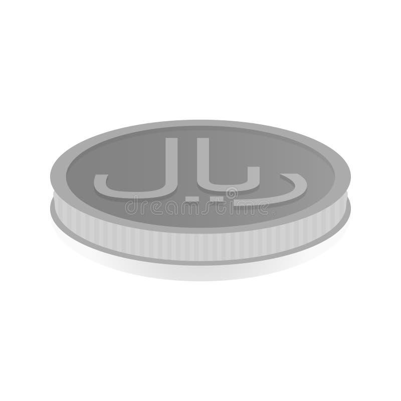 Vector l'illustrazione di una moneta d'argento con il simbolo del rial, riyal royalty illustrazione gratis