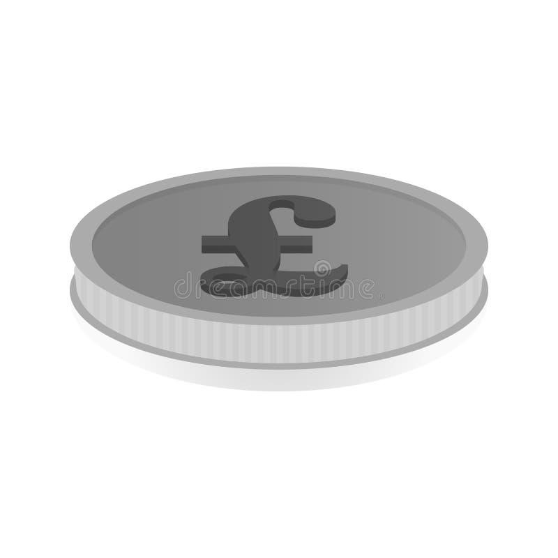 Vector l'illustrazione di una moneta d'argento con il simbolo della libbra, Lira illustrazione vettoriale
