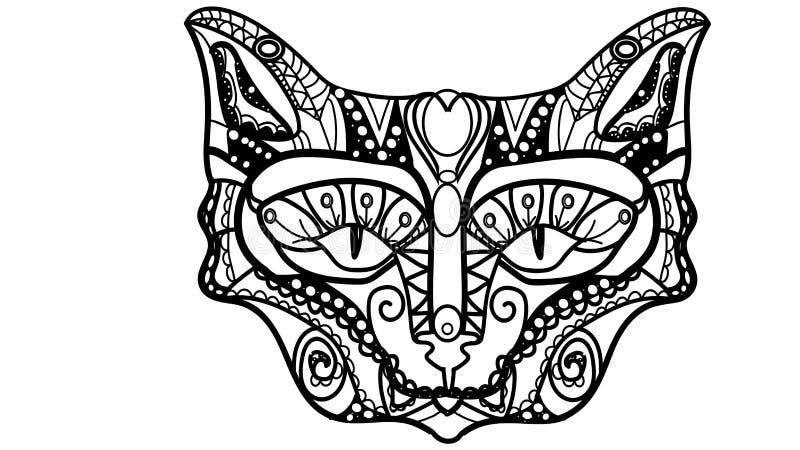 Vector l'illustrazione di una museruola del ` s del gatto nello stile di uno zentagle immagini stock