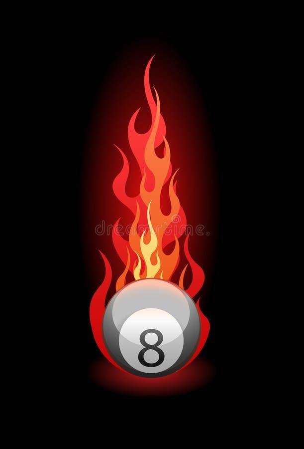 Vector l'illustrazione di una sfera di biliardo in fuoco illustrazione di stock