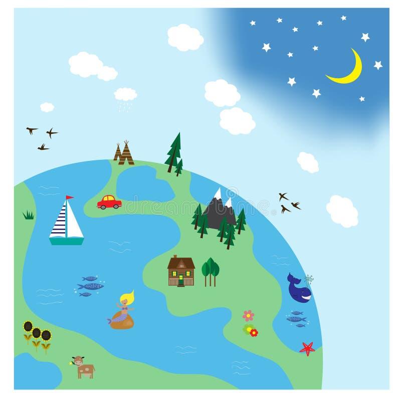 Vector l'illustrazione di una terra con gli alberi, le montagne, i fiumi ed altro illustrazione vettoriale