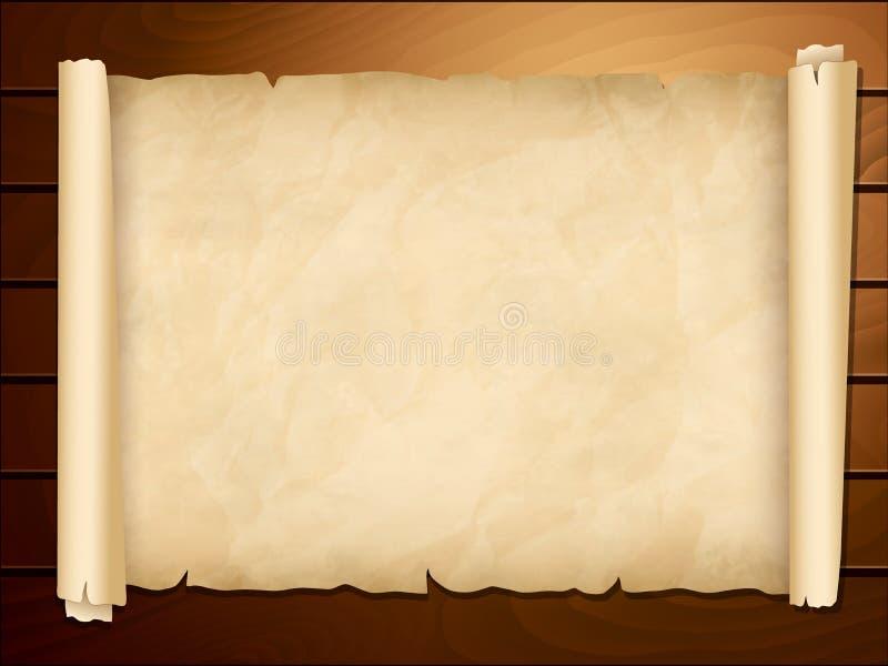 Vecchio papiro nei precedenti di legno royalty illustrazione gratis