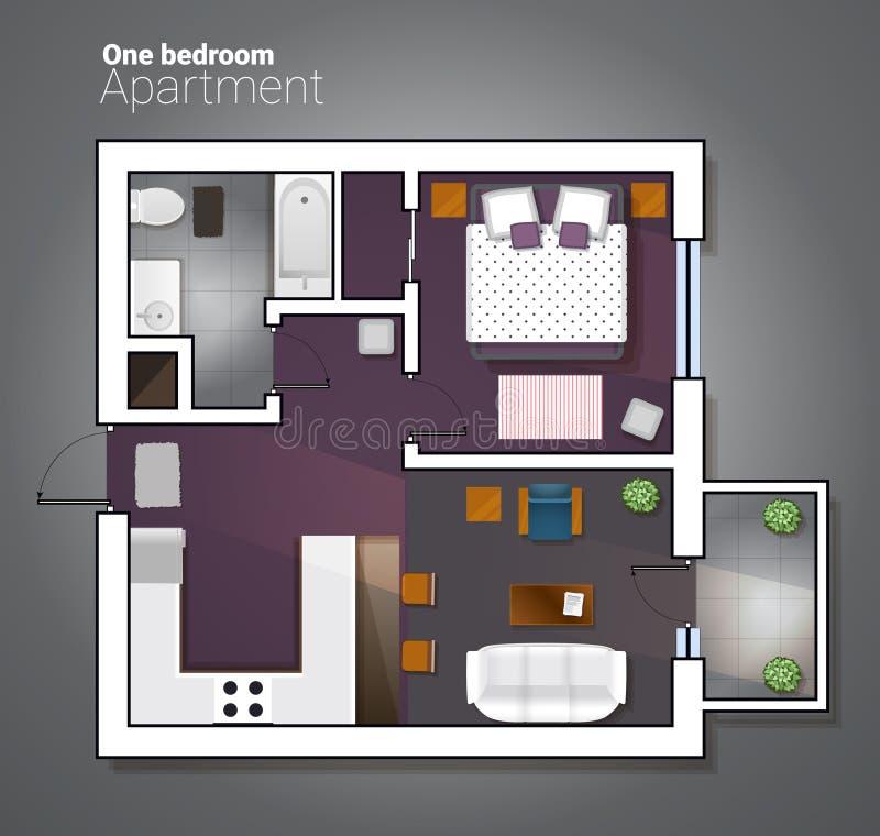 Vector l'illustrazione di vista superiore dell'un appartamento moderno della camera da letto Piano architettonico dettagliato di  illustrazione vettoriale