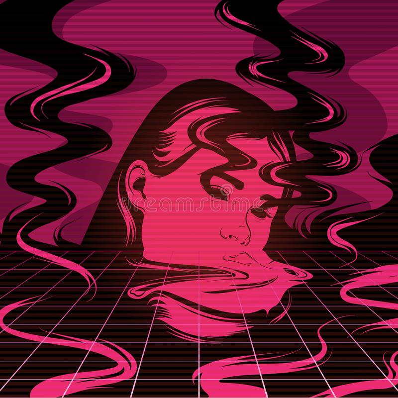 Vector l'illustrazione disegnata a mano della ragazza di fusione con fumo illustrazione di stock