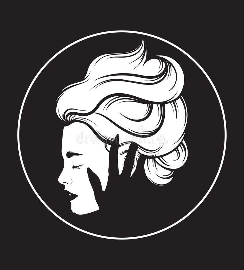 Vector l'illustrazione disegnata a mano di bello profilo della donna con la mano di un fantasma illustrazione vettoriale