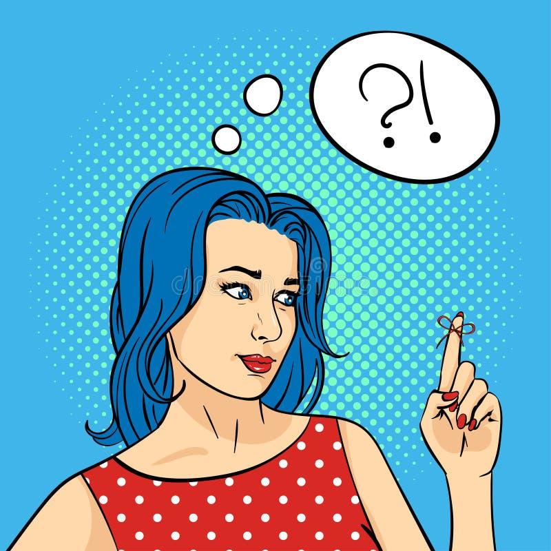 Vector l'illustrazione disegnata a mano di Pop art della giovane donna con la corda di ricordo sul dito illustrazione vettoriale