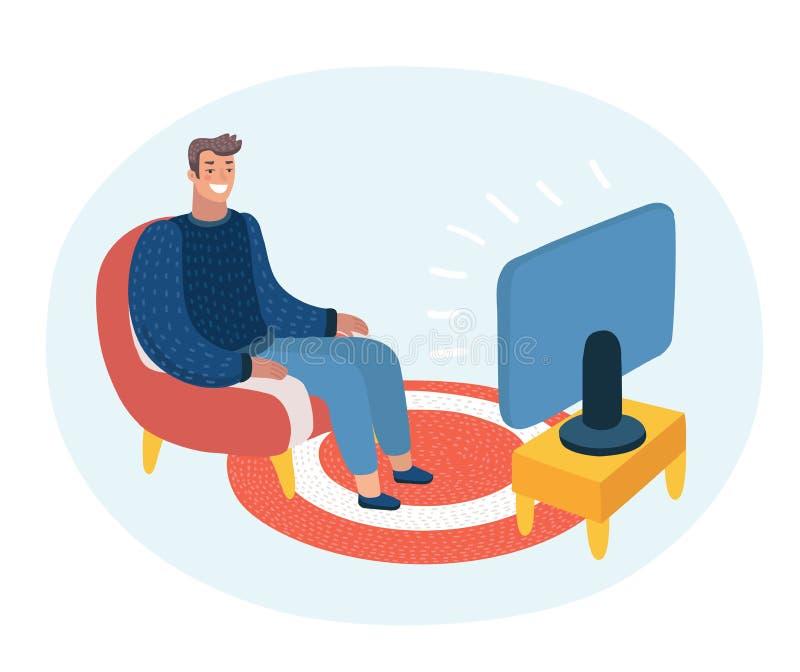 Vector l'illustrazione divertente del fumetto dell'uomo che si siede sullo strato e sulla TV di sorveglianza illustrazione di stock