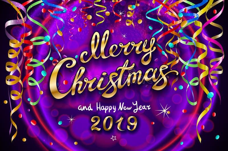 Vector l'illustrazione festiva variopinta per il fondo viola celebratorio della decorazione e del partito - Buon Natale dorato e  royalty illustrazione gratis