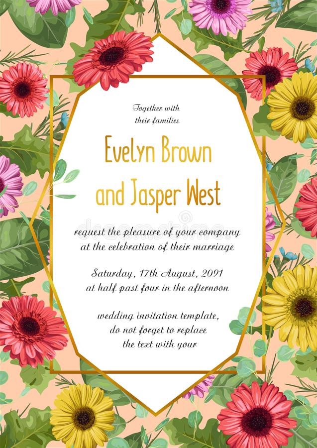 Vector l'illustrazione floreale dell'estate dell'invito di nozze, greetin royalty illustrazione gratis
