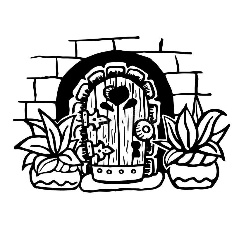 Vector l'illustrazione, icone magiche della porta dei bambini del fumetto Fiaba, fantasia, oggetti magici illustrazione vettoriale