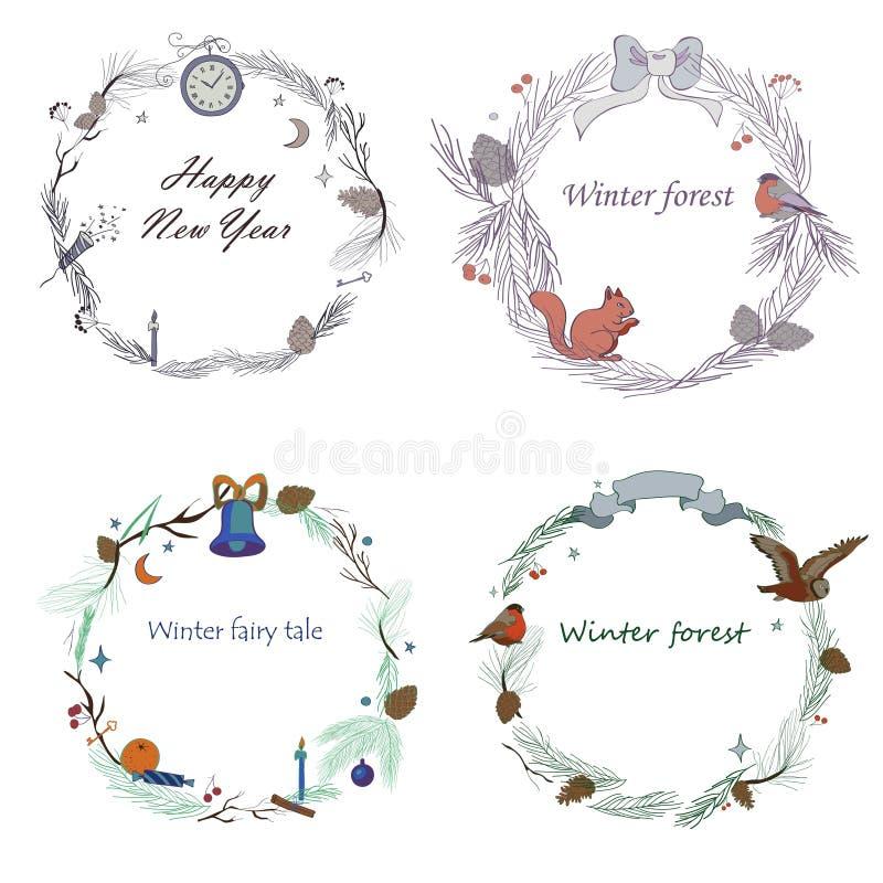 Vector l'illustrazione, l'insieme dei telai del nuovo anno con la foresta e gli elementi celebratori Rami dell'abete rosso, coni, illustrazione vettoriale
