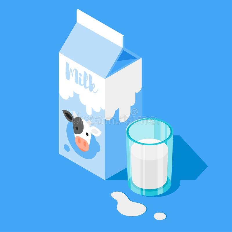 Vector l'illustrazione isometrica 3d dell'imballaggio del latte e di un bicchiere di latte su fondo blu illustrazione di stock