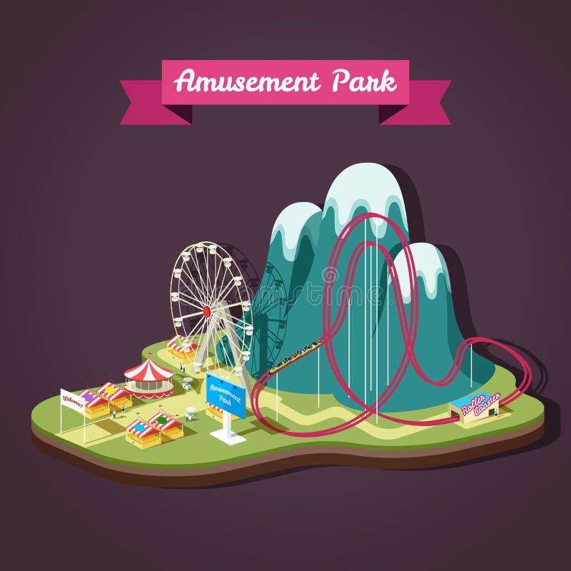 Vector l'illustrazione isometrica del parco di divertimenti con la a differente illustrazione di stock